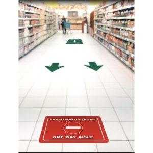 Aisle traffic flow floor decal kits